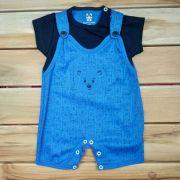Macacão Curto Baby Azul Urso