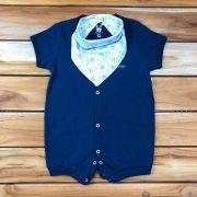 Macacão Curto Baby Azul com Bandana