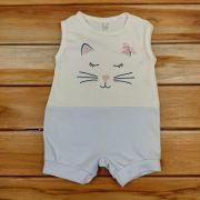 Macacão Curto Baby Cru Gato