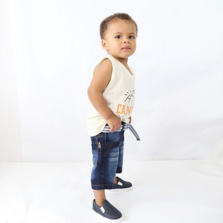 Bermuda Jeans Infantil Azul Escuro