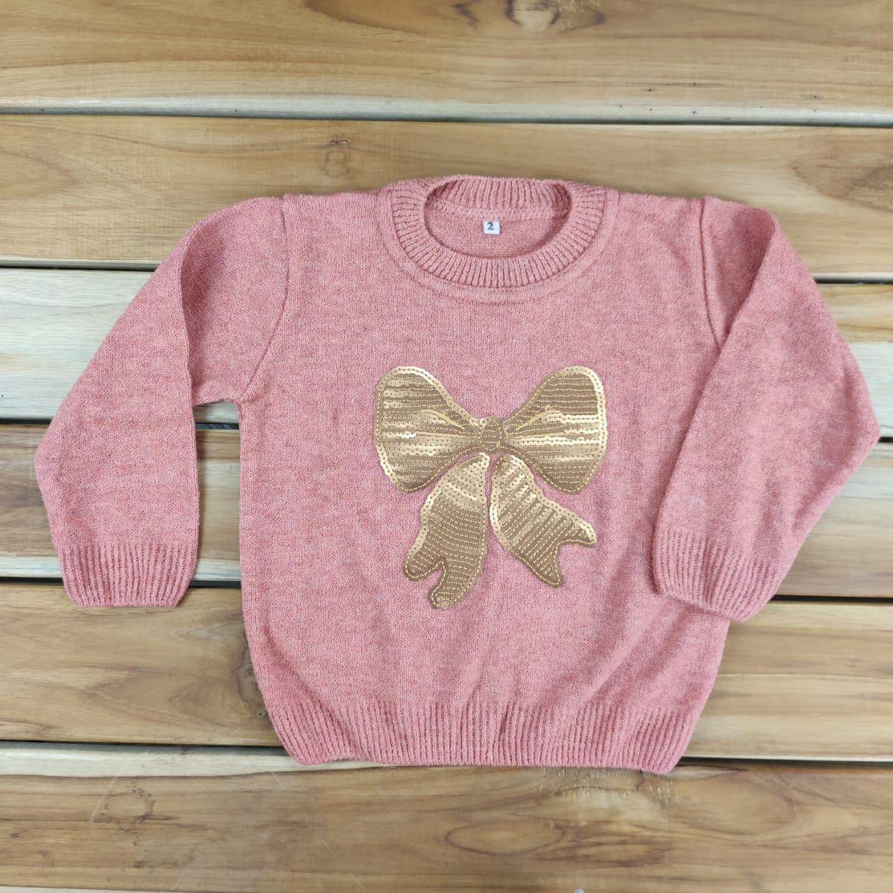 Blusa de Tricô Infantil Rosa de Laço com Lantejoulas