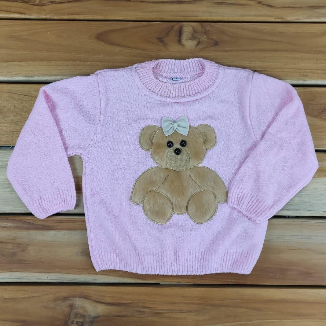 Blusa de Tricô Infantil Rosa de Ursinho