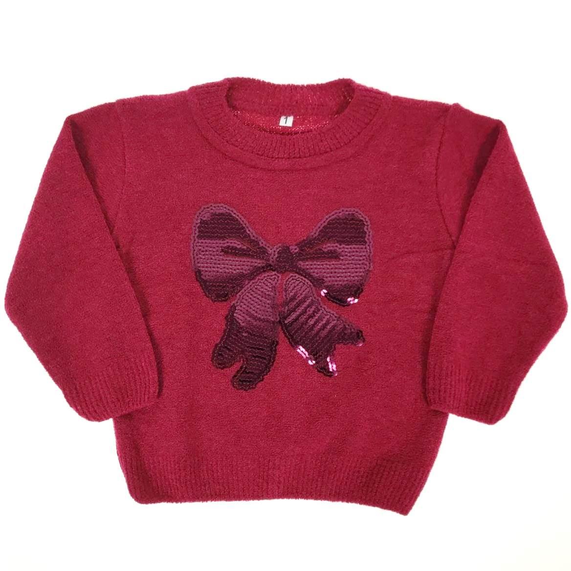 Blusa de Tricô Infantil Vermelha de Laço com Lantejoulas