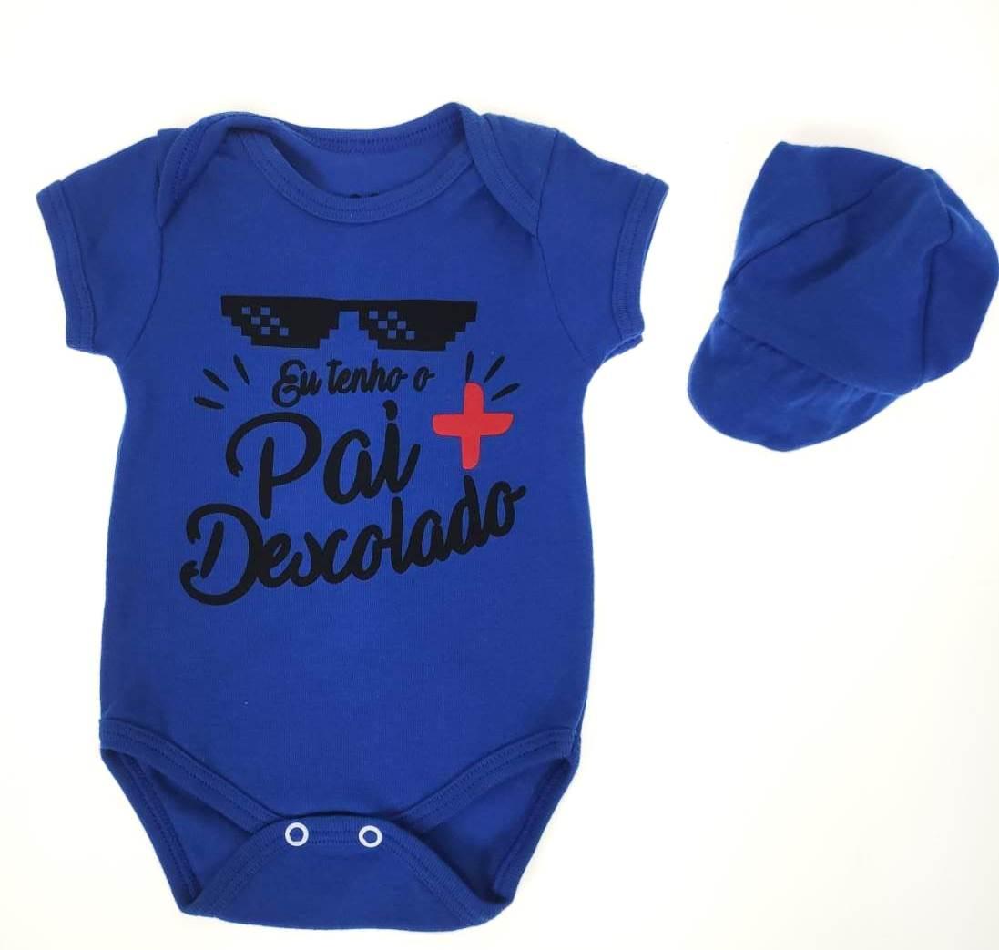 Body Bebê Comemorativo Azul com Bon¿¿