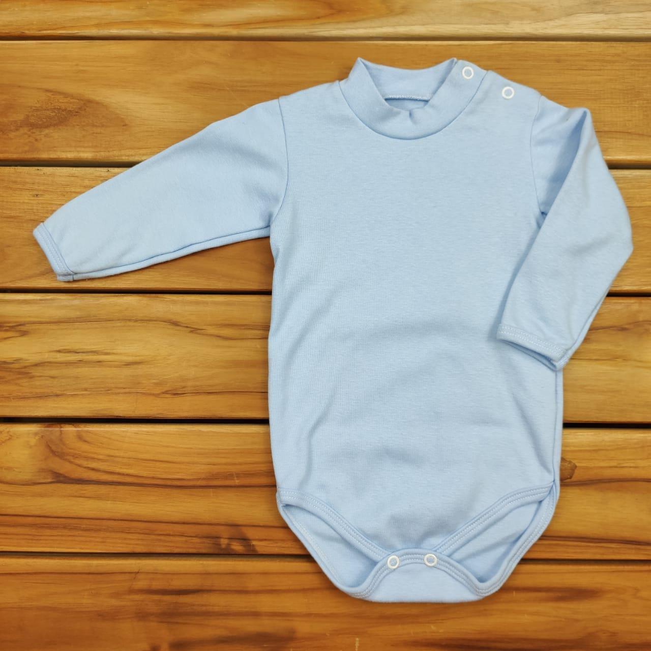 Body Bebê Liso Azul com Gola