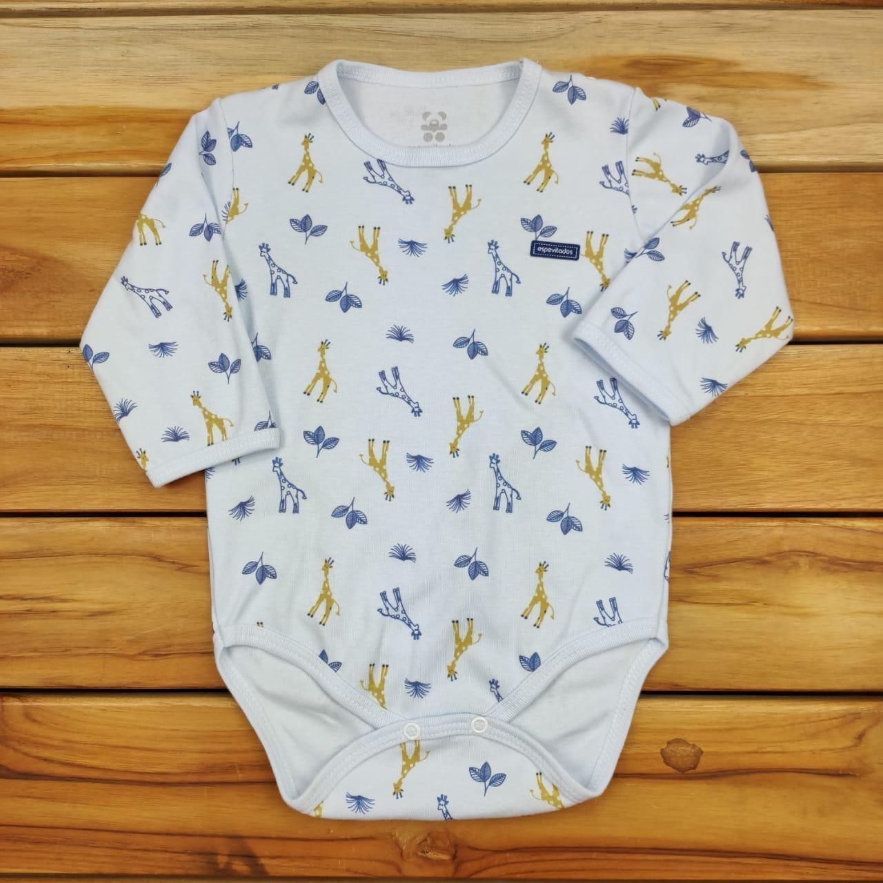 Body Bebê Longo Azul Girafa