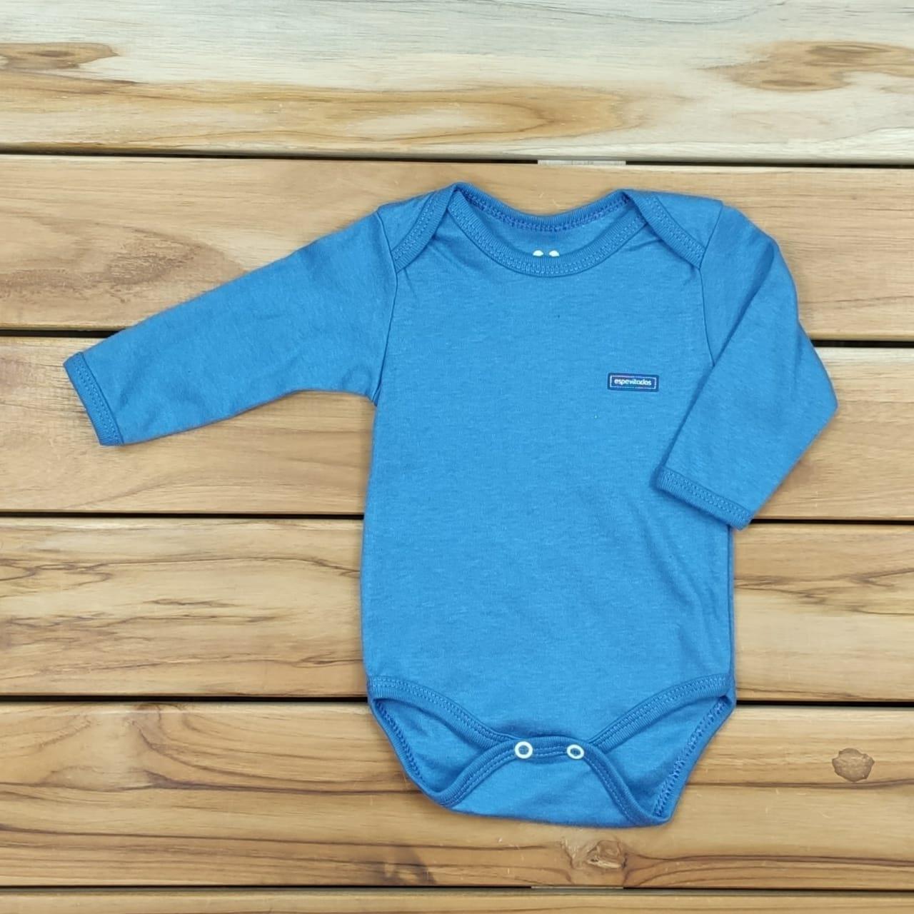 Body Bebê Longo Liso Azul