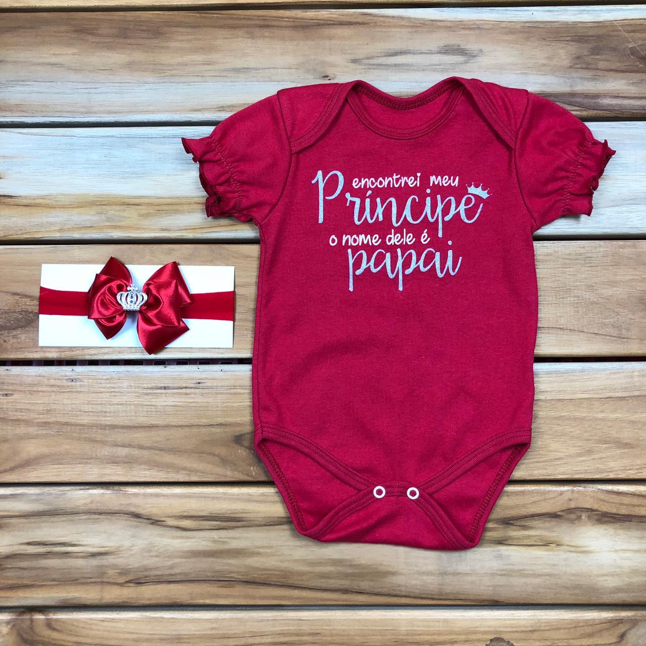 Body comemorativo Vermelho Bebê com Laço