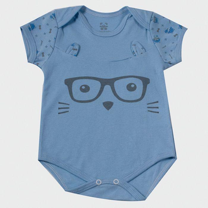 Body Curto bebê Azul Óculos