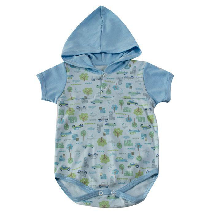 Body Curto bebê Azul Carros