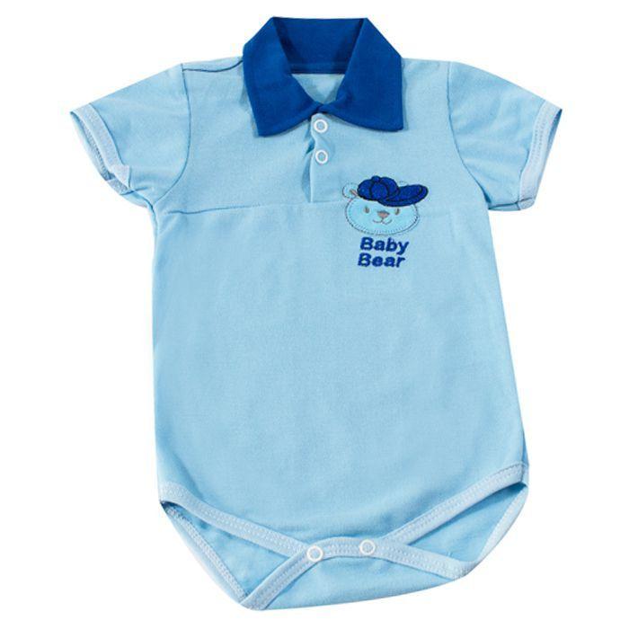 Body Curto Bebê Azul Urso