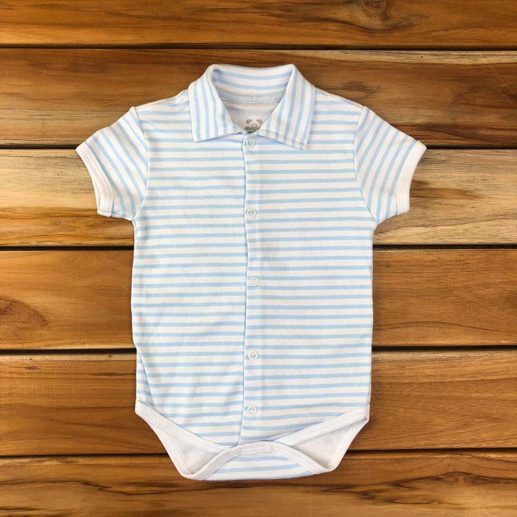 Body Curto bebê Azul Listrado