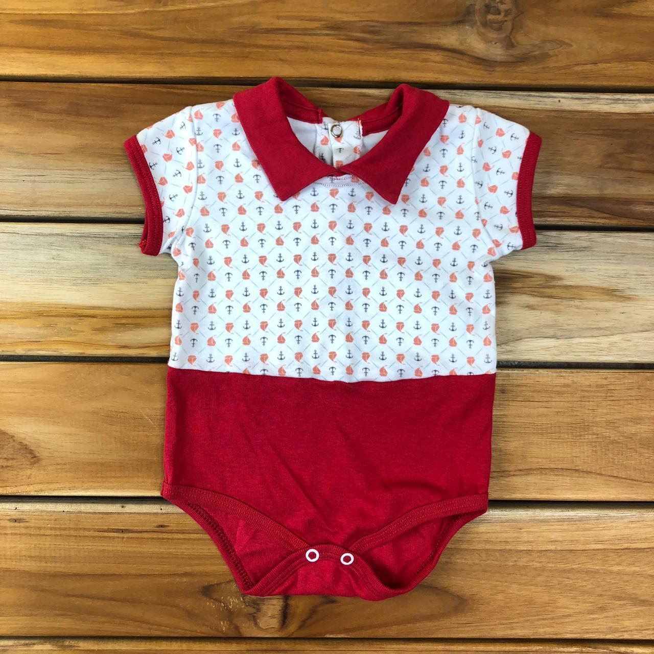 Body Curto Bebê Branco Barquinho