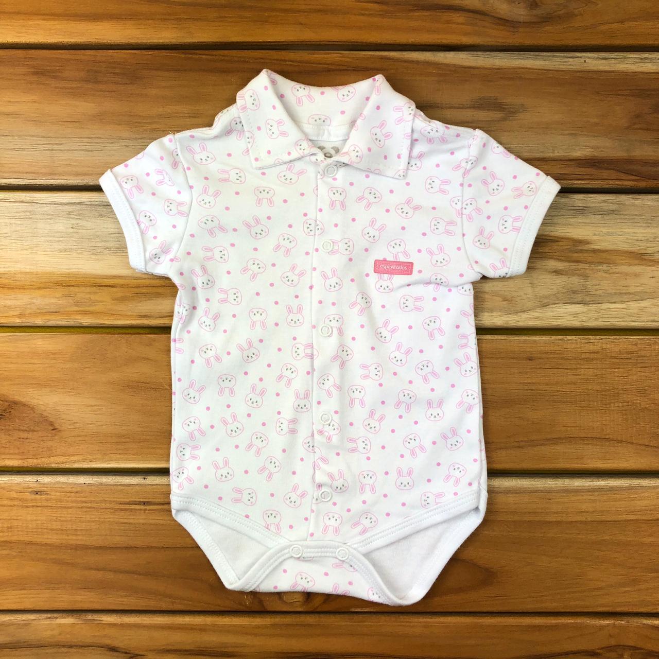 Body Curto Bebê Branco Coelhinhos