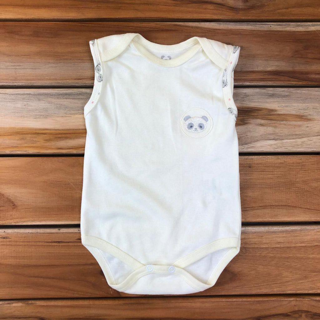Body Curto Bebê Cru Neutro Panda