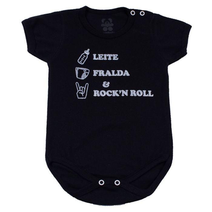 Body Curto Bebê Preto Neutro Rock