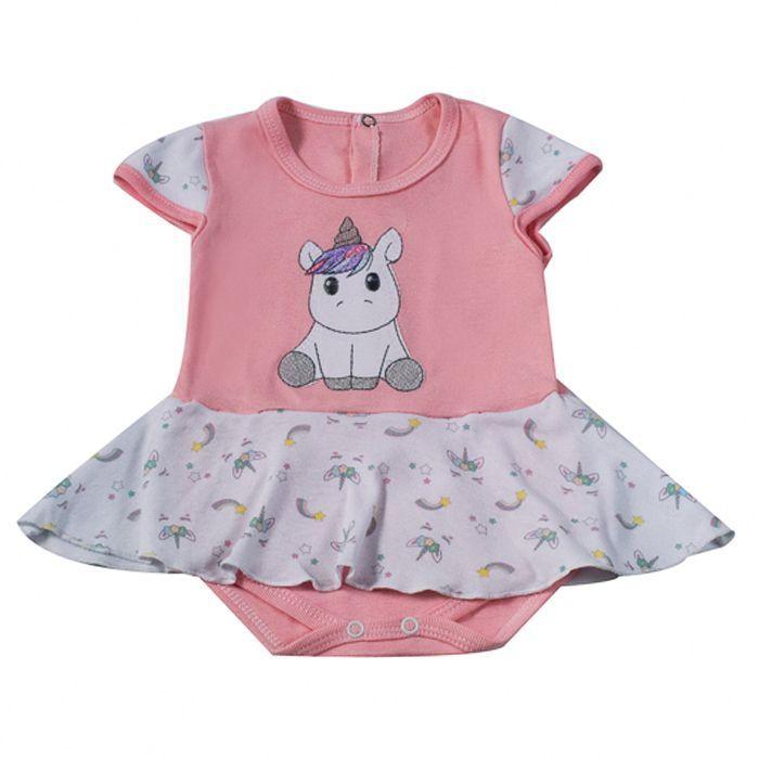 Body Curto bebê Rosa Saia Unicornio