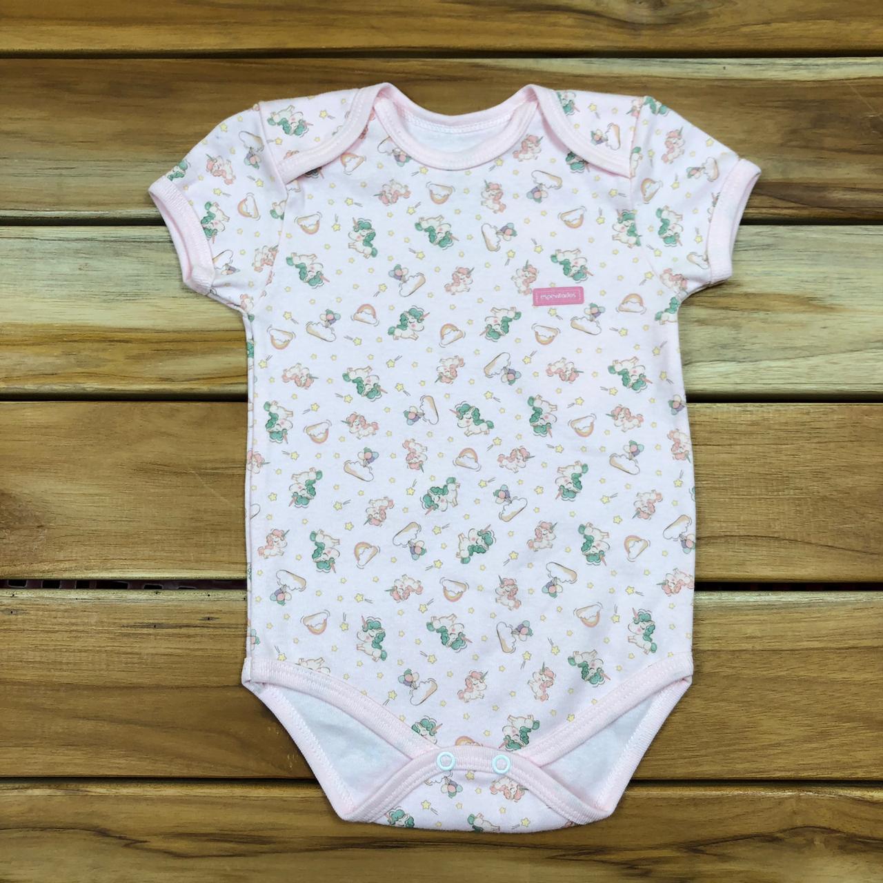 Body Curto bebê Rosa Unicórnio