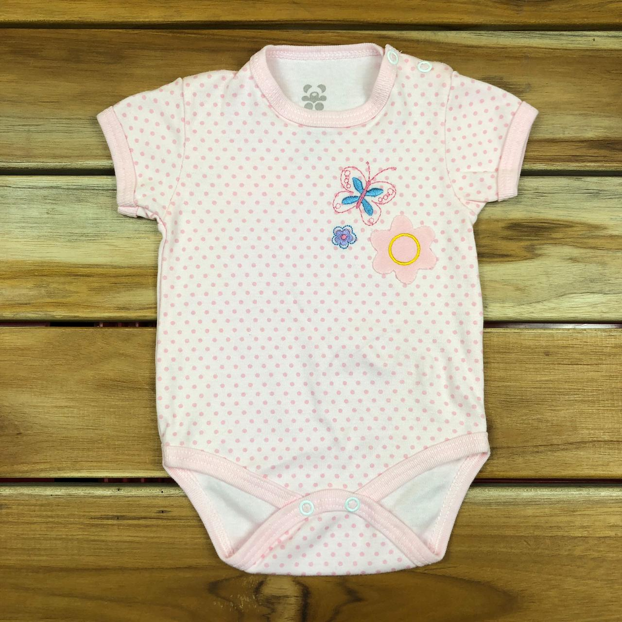 Body Curto Bebê Rosa Bordado Borboleta