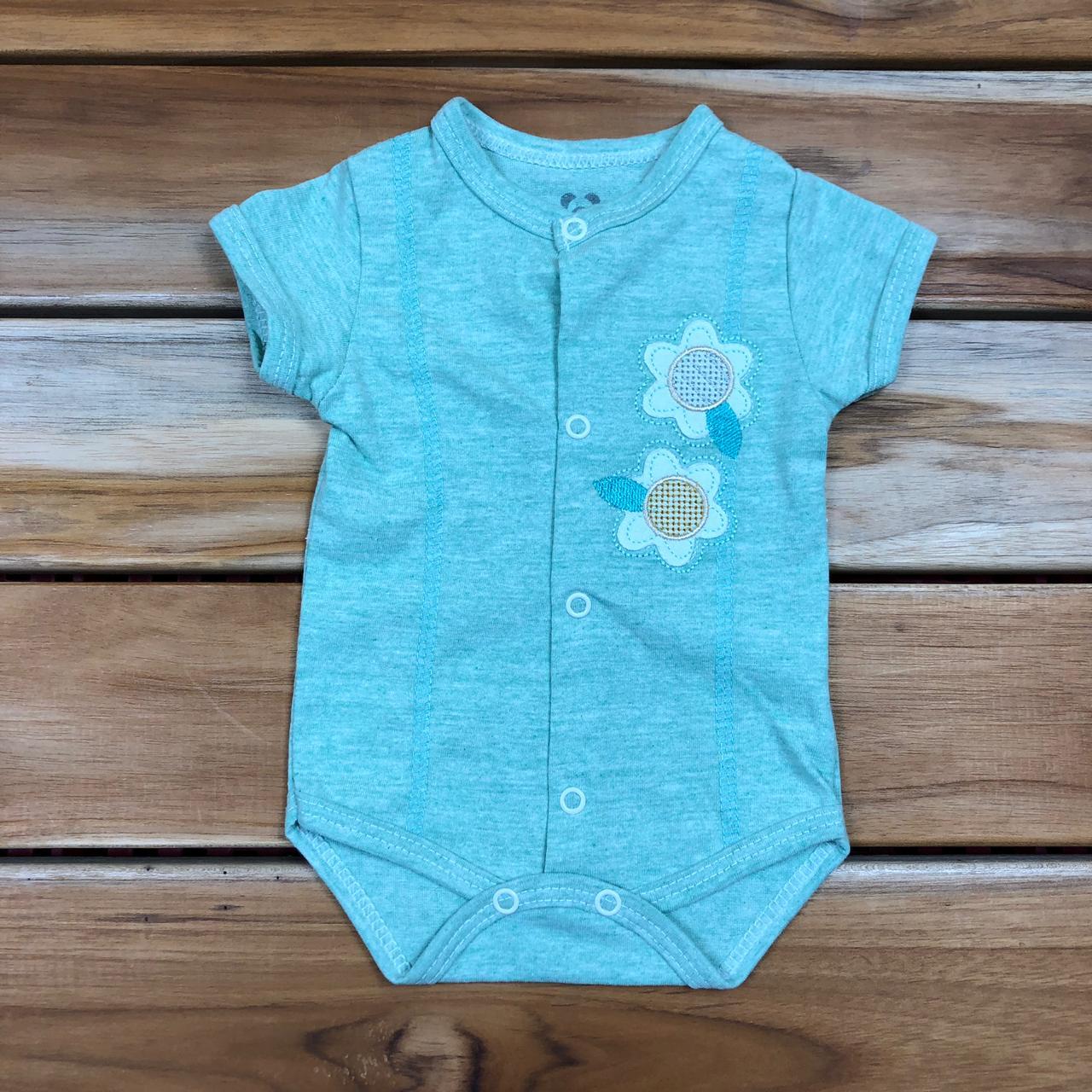 Body Curto Bebê Verde Bordado Flor