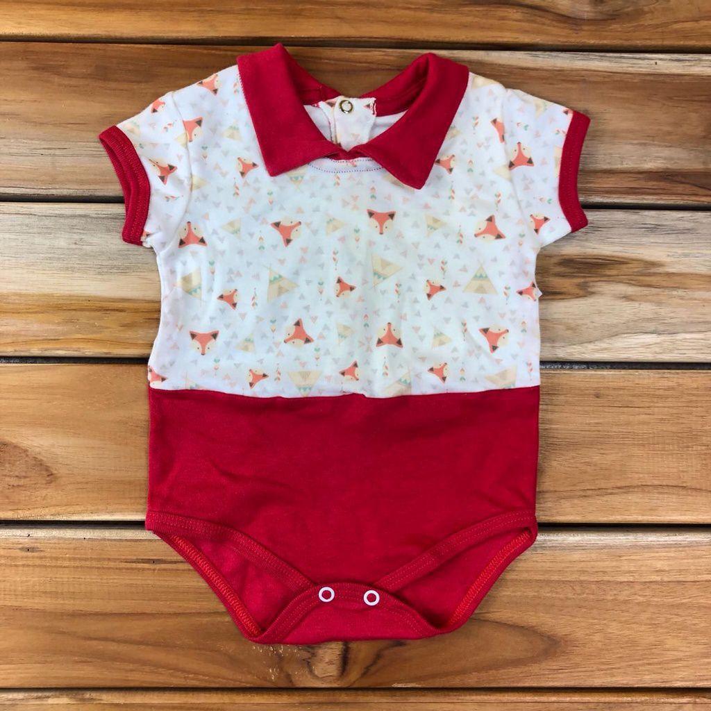 Body Curto Bebê Vermelho Raposa