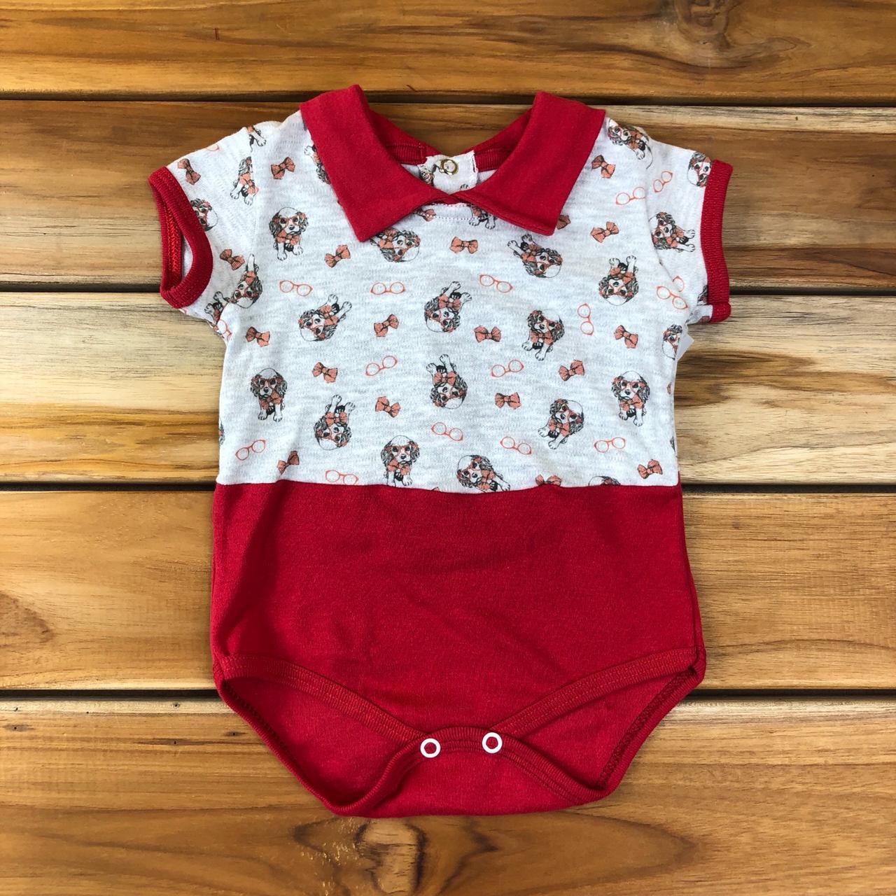 Body Curto Bebê Vermelho Cachorro