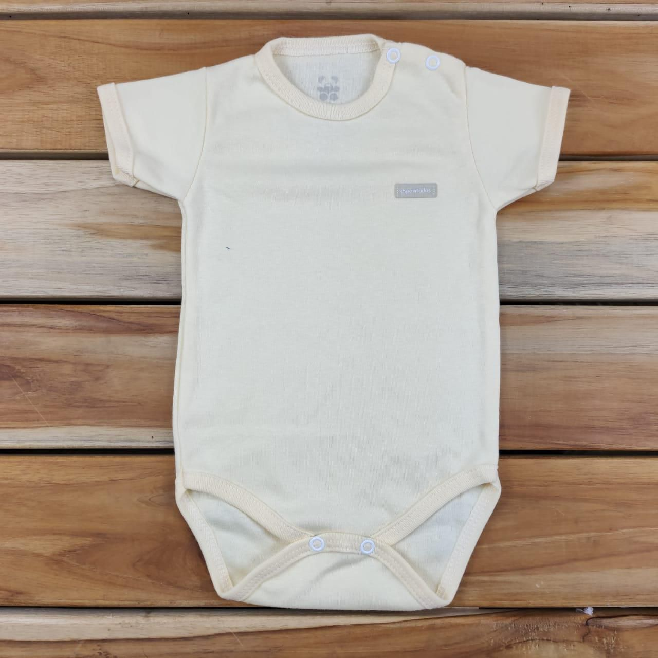 Body Curto Bebê Amarelo claro Liso