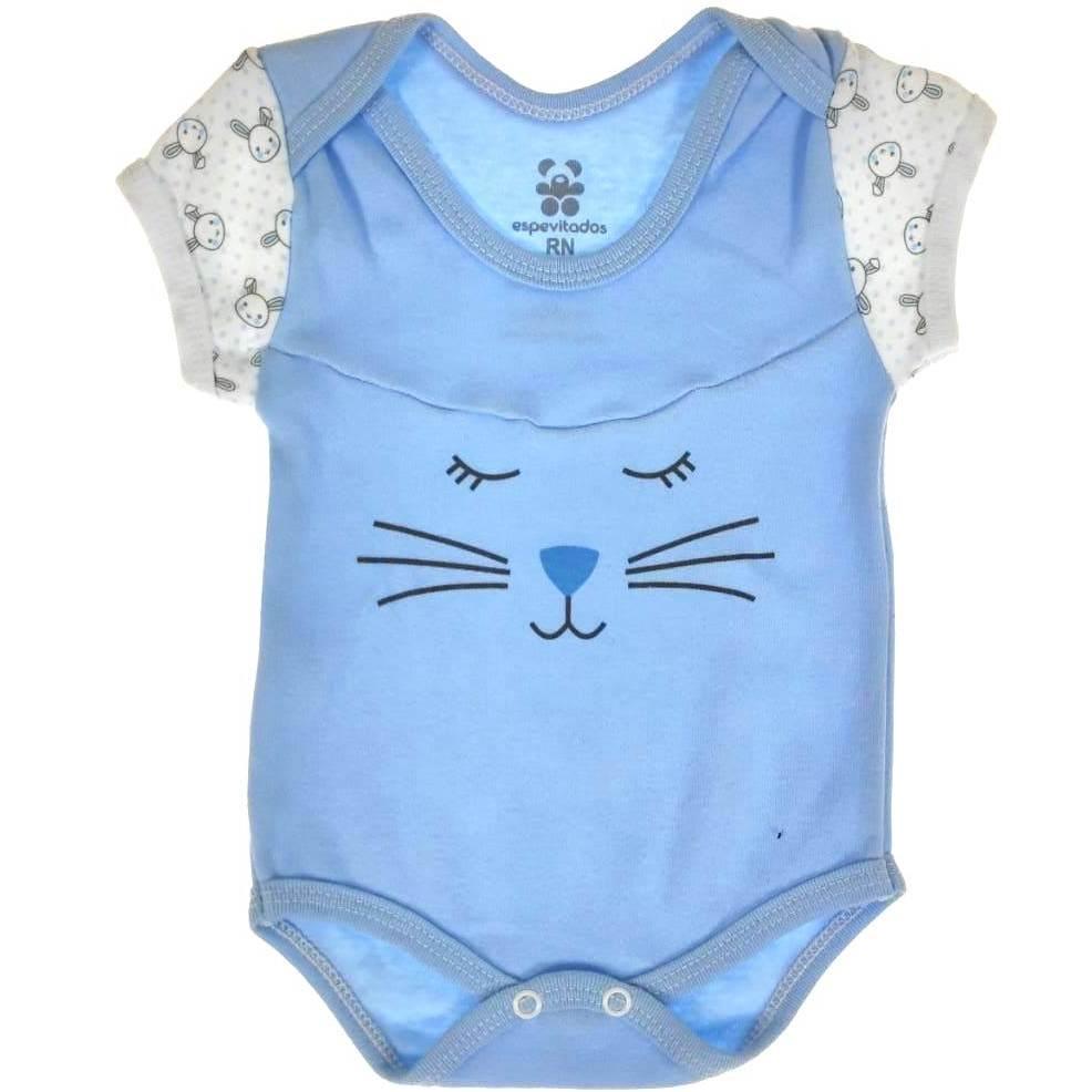 Body Curto Bebê Azul Coelinho