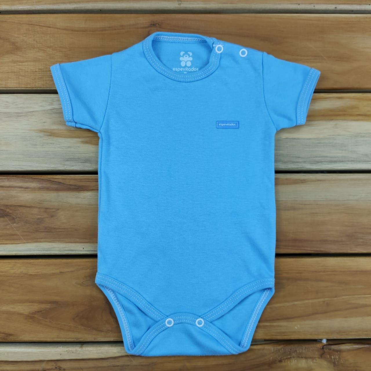 Body Curto Bebê Azul Liso