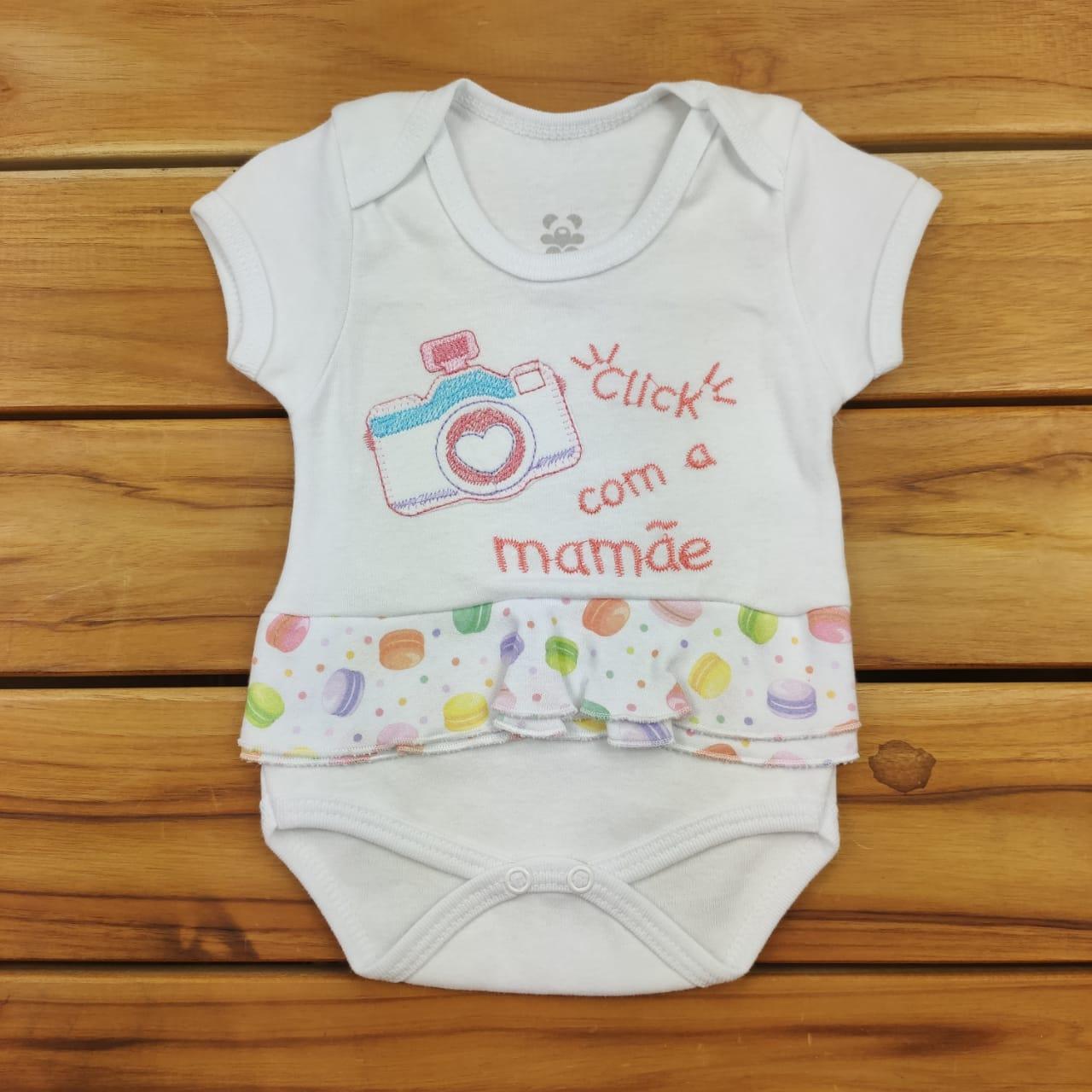 Body Curto Bebê Branco Bordado