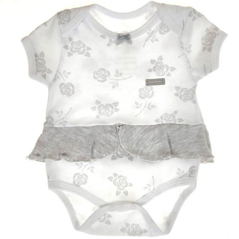 Body Curto Bebê Branco de Rosas