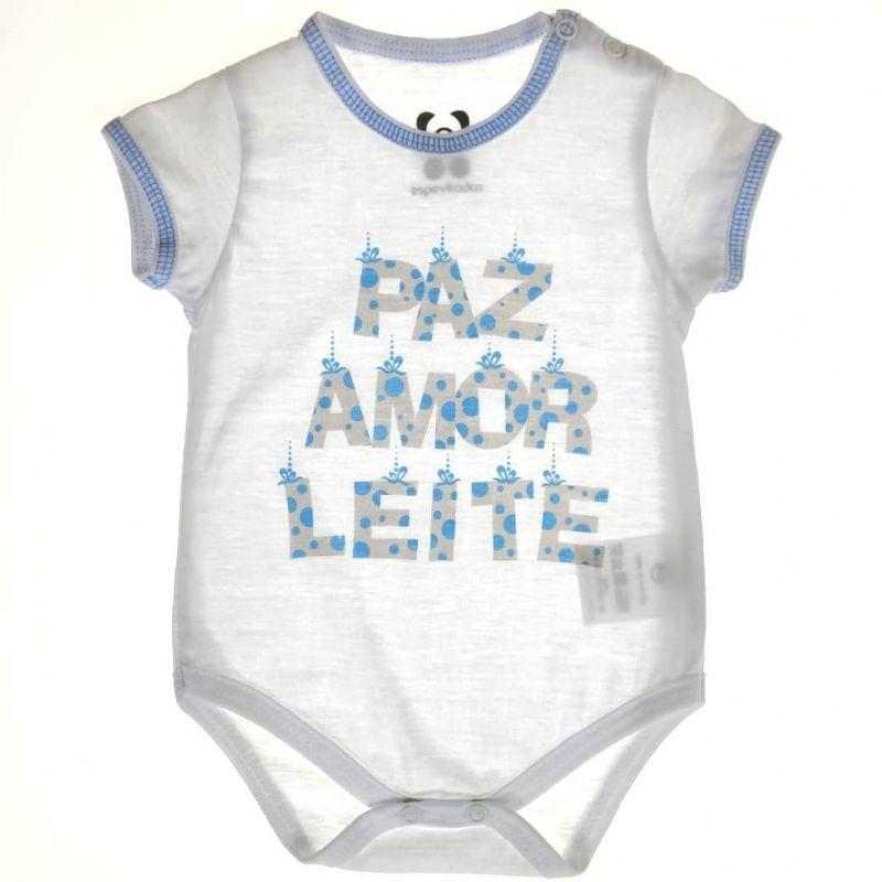 Body Curto Bebê Paz, amor e Leite