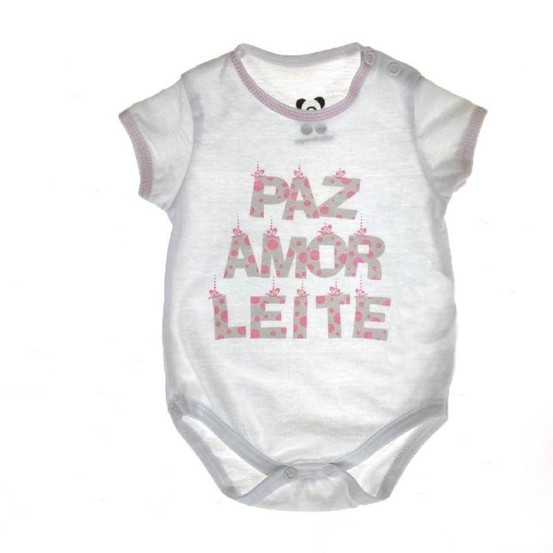 Body Curto Bebê Paz, amor e Leite #BOASFESTAS