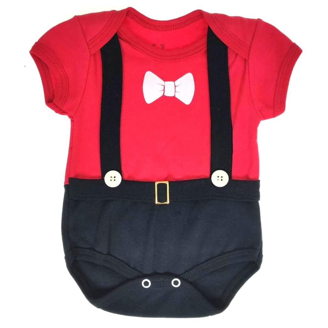 Body Curto Bebê Comemorativo Vermelho