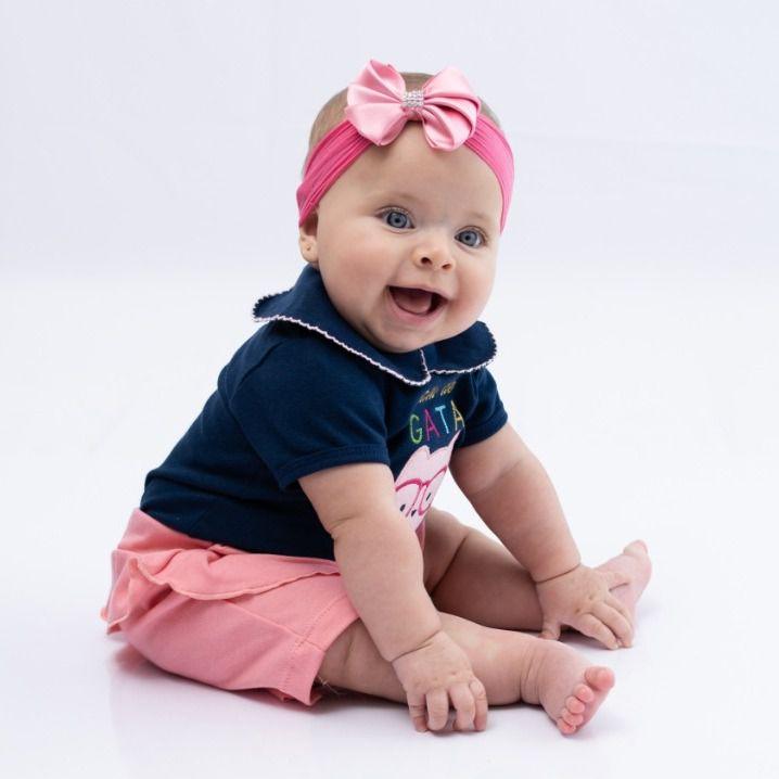 Body Curto Bebê Marinho Gatinha