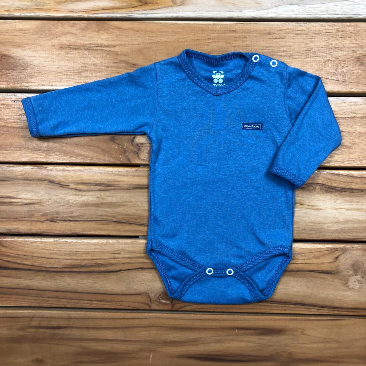 Body Bebê Longo Gola V Azul