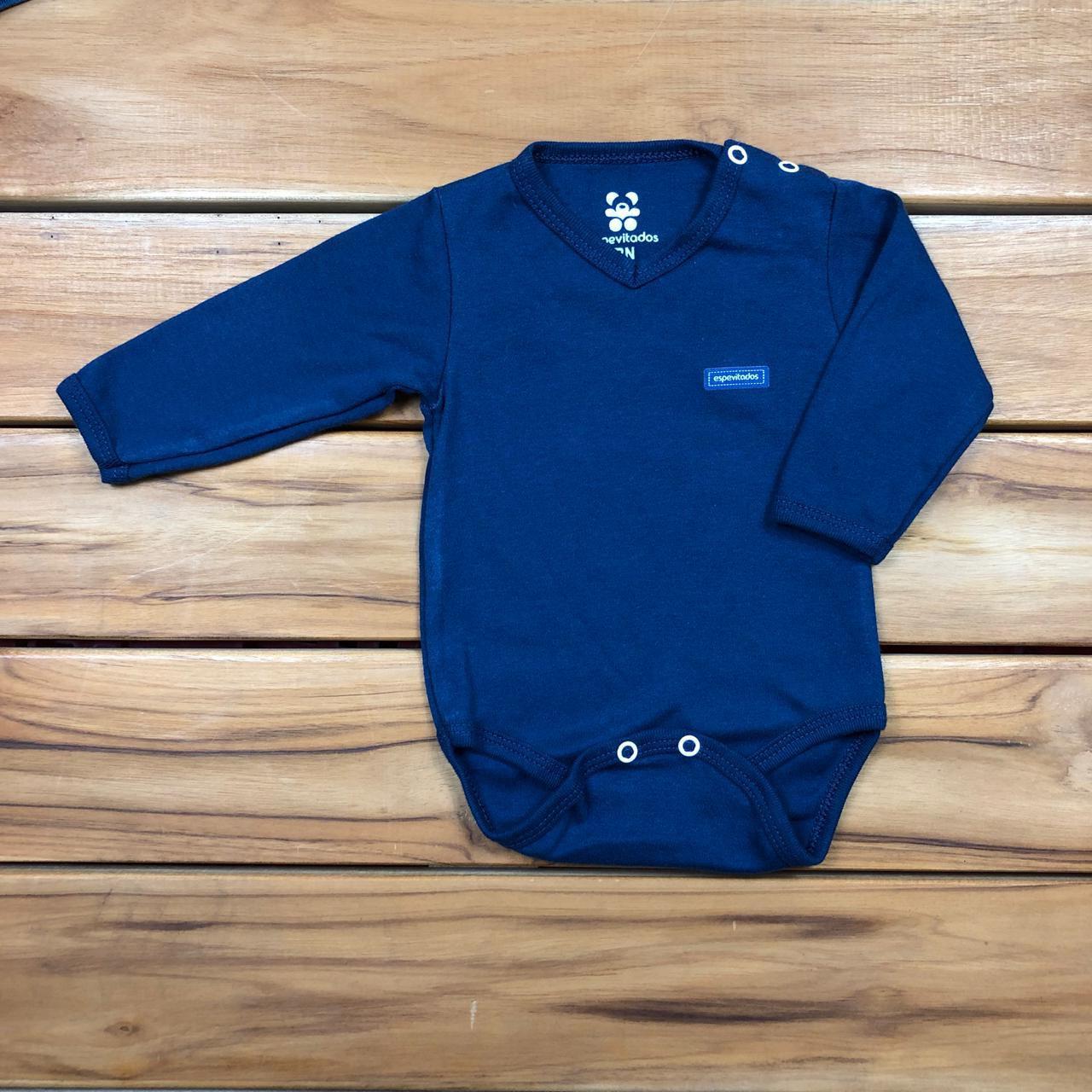 Body Bebê Longo Gola V Azul Marinho