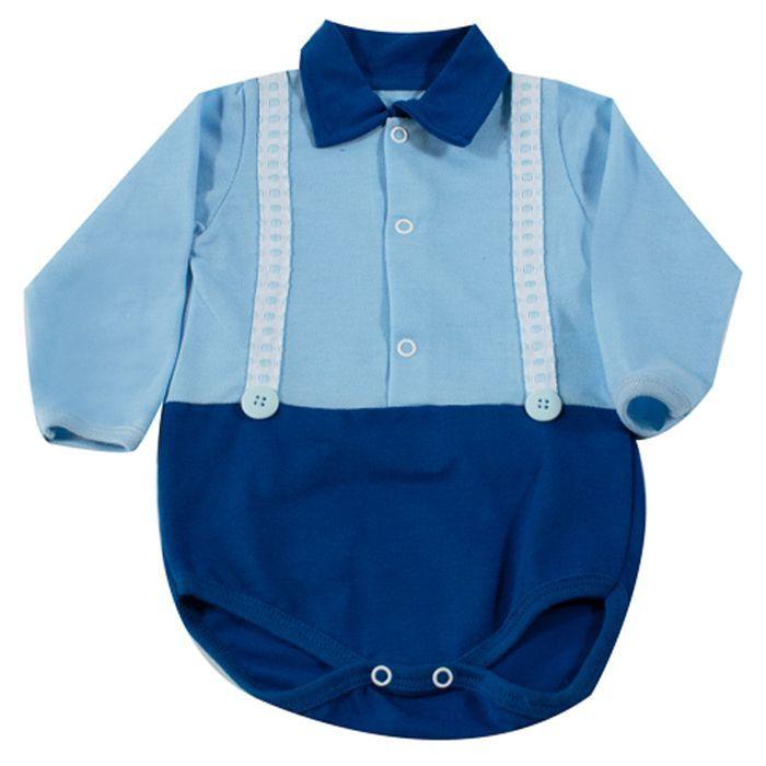 Body Bebê Longo Polo Azul Bambino
