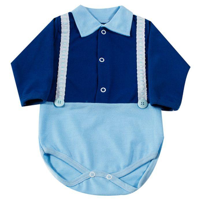 Body Bebê Longo Polo Azul Royal Suspensório