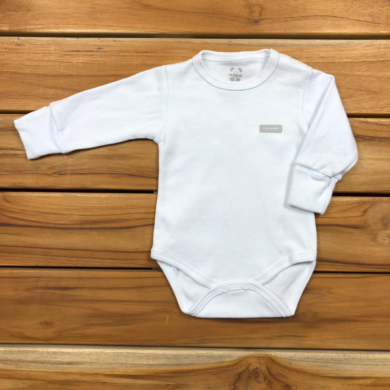 Body Longo bebê Branco Neutro PUNHO REVERSIVEL