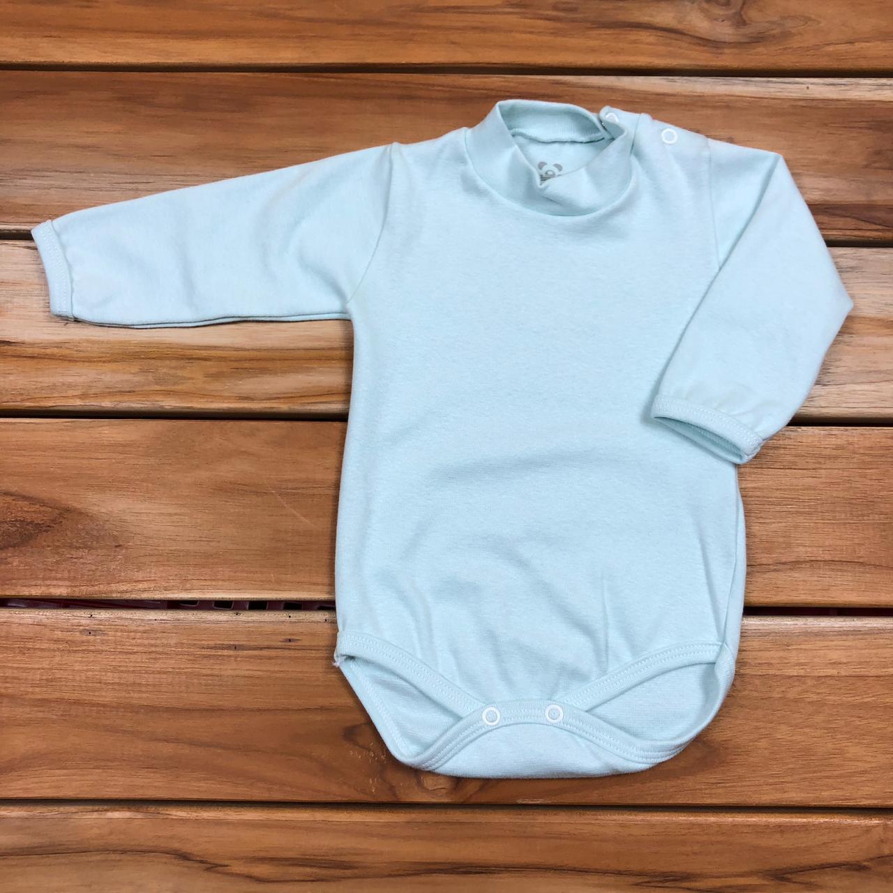 Body Longo Bebê Verde com Gola