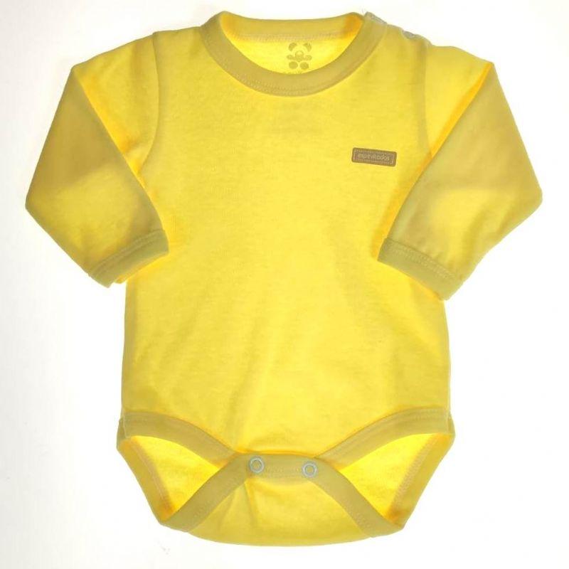 Body Longo Bebê Amarelo Liso
