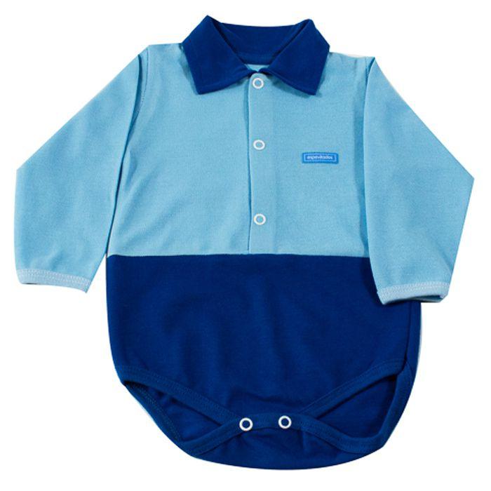 Body Longo Bebê Azul com Gola