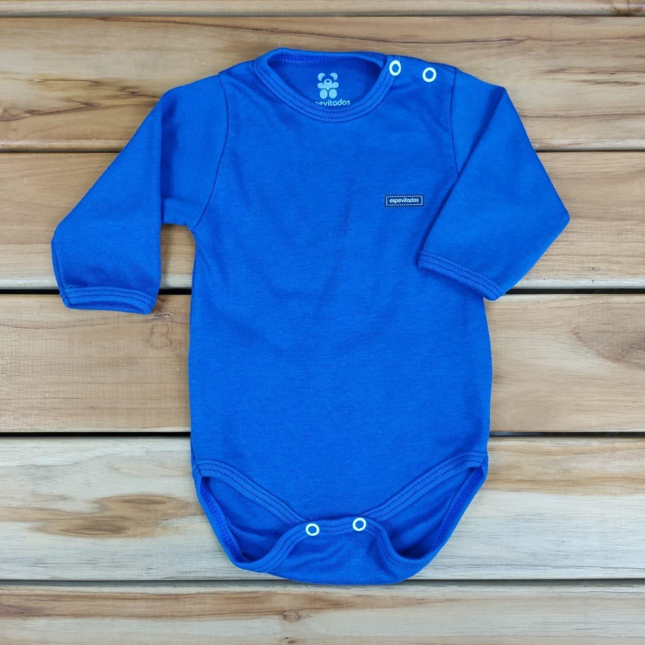 Body Longo Bebê Azul Liso