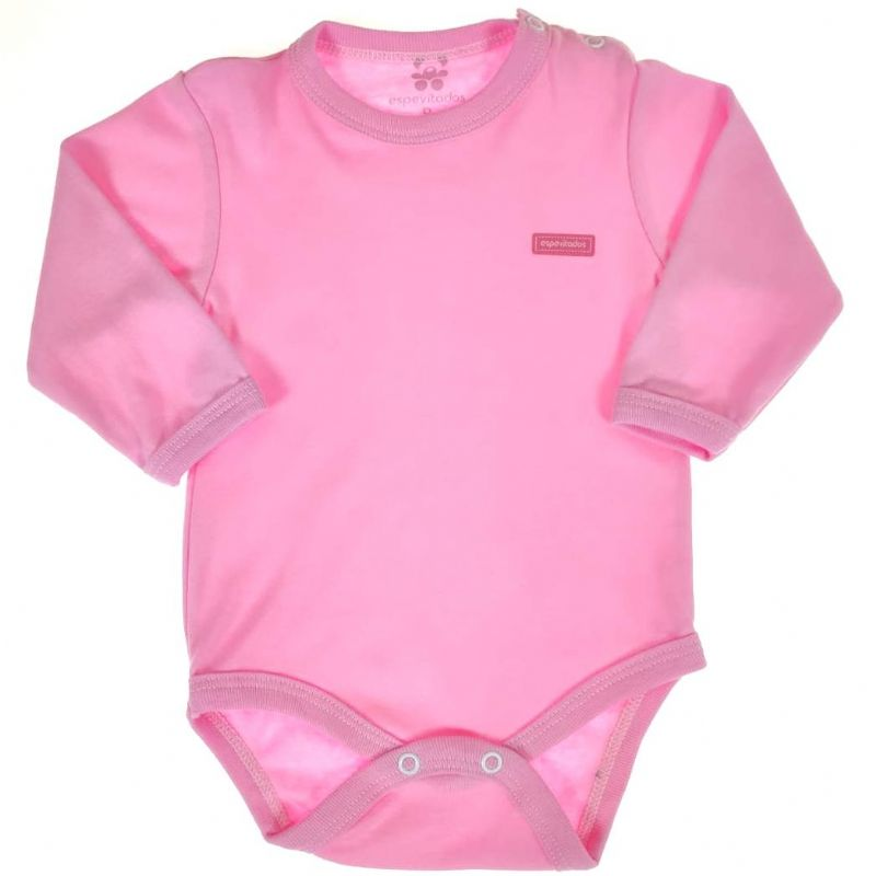 Body Longo Bebê Rosa Liso
