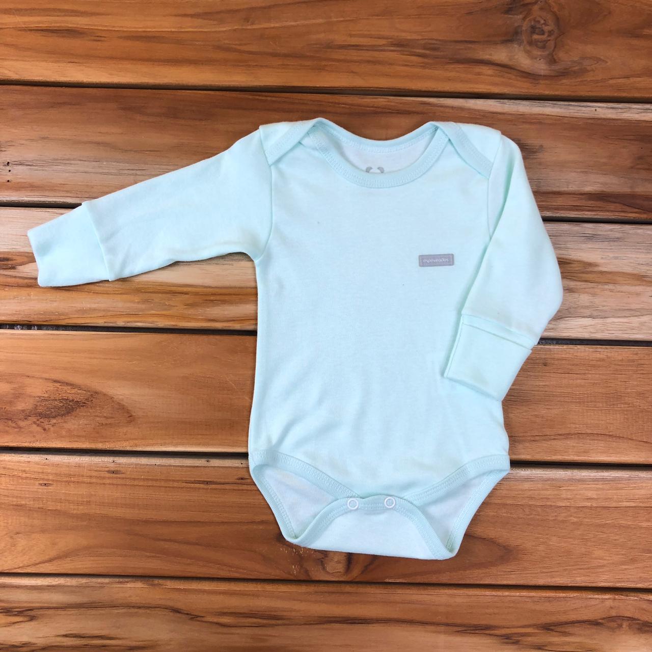 Body Longo Bebê Verde Liso