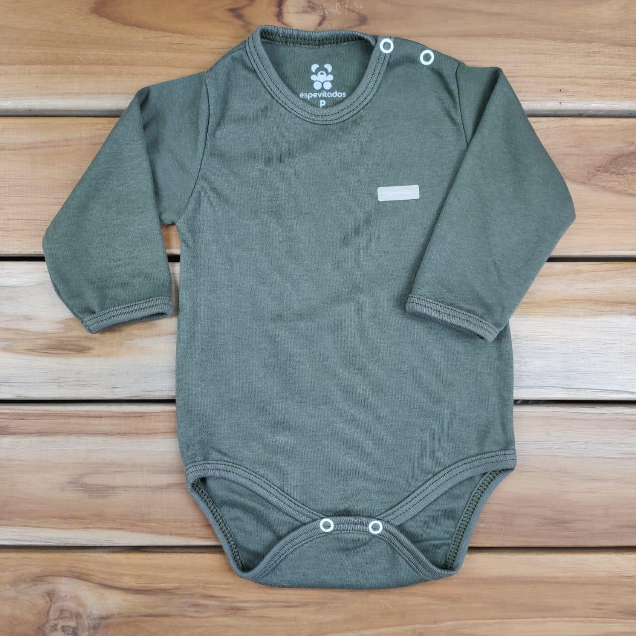 Body Longo Bebê Verde Militar Liso