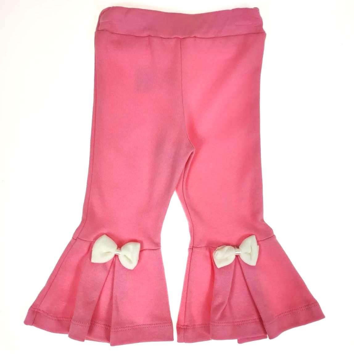 Calça Flare Infantil Rosa com Laço
