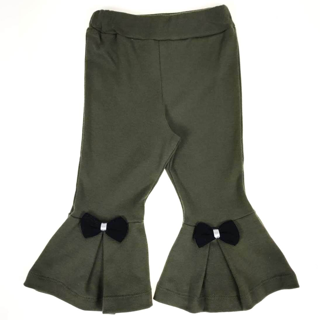 Calça Flare Infantil Verde Militar com Laço