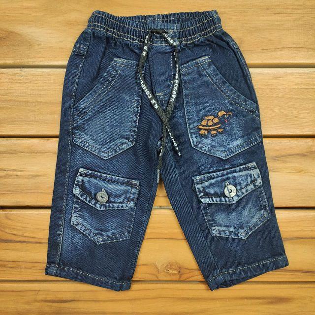 Calça Jeans Escura Bordada